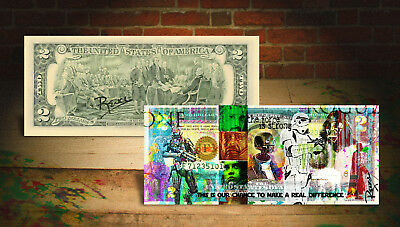 STAR WARS * ROGUE ONE * Colorized U.S. $2 Bill - HAND-SIGNED By Artist Rency