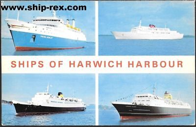 Harwich Harbour, Ships - multiview postcard