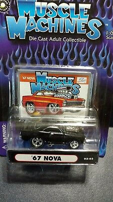 Muscle Machines 67 1967 Chevy Nova Chevrolet Black 1:64 Diecast 02-03