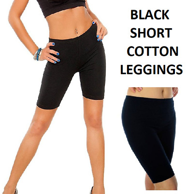 Ladie's Short Leggings Cropped Cotton  Active Sports Fitness Run Bike Over-Knee