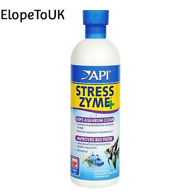 API Stress Zyme Freshwater and Saltwater Aquarium Cleaning Solution, 473 ml