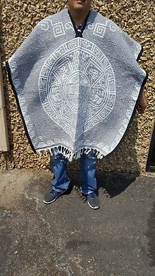 Mexican Poncho ,Blanket Serape CALENDARIO AZTECA  ,One Size Fit All, LIGHT GRAY