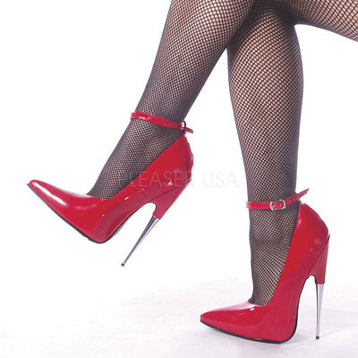 DEVIOUS SCREAM-12 Pumps Rot Chrom Lack Ankle-Strap Extrem Fetish Lolita Gogo Hot
