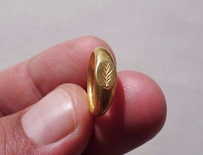 ancient Gold Roman engraved ring, displayed a branch