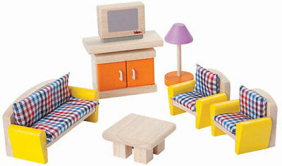 PLAN TOYS Neo Living Room Organic Rubber Wood Dollhouse Furniture 7307