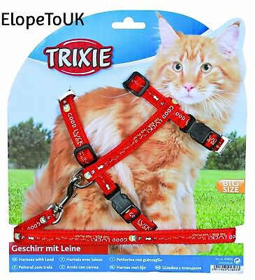 Trixie 41893 Cat Set of Harness and Lead for Large Cats Nylon Patterned 34 -...