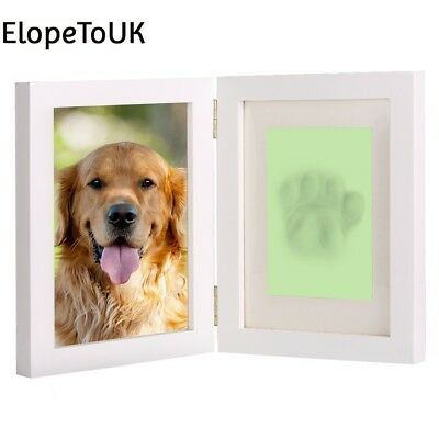 White Personalized Dog or Cat Pet Memorial Frame Paw Prints Desk Photo...