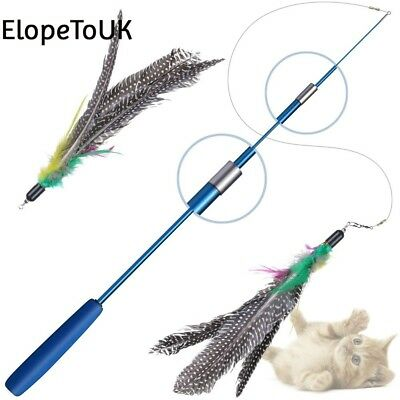 Cat Stick, Toys Interactive Wand With 2 Feather Teaser Toy on a Strong...