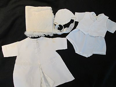 VINTAGE 1970's ERA  BOY CHRISTENING JUMPER, HAT, VEST & JACKET, SET 3/6 MO~USED