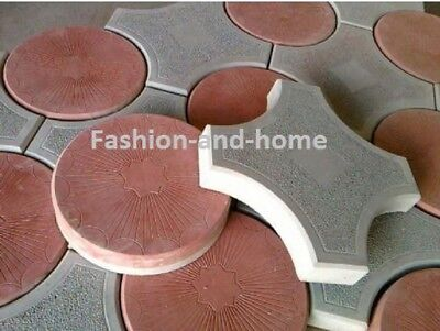 Set Of 2 Concrete Paving Interlocking Garden Path Brick Plastic Floortile Mould.