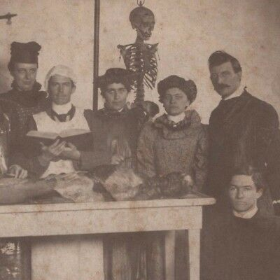 Antique 1899 Medical School Cadaver Women Students Signed MO Cabinet Photo