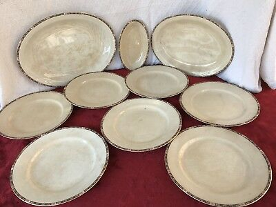 W S George Derwood Stoneware 102C 10 pcs set plates and platters