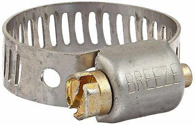 """Breeze Mini Stainless Hose Clamp, Worm-Drive SAE 6, 7/16""""- 25/32""""D, 5/16""""W"""