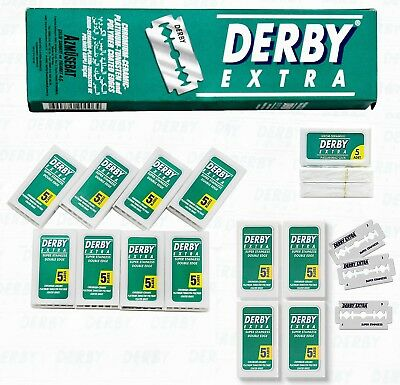 DERBY EXTRA Platinum Double Edge Safety Blades Barber Straight Cut Throat Razor
