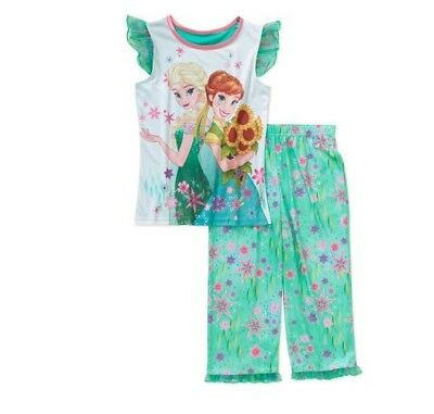 DISNEY FROZEN ANNA & ELSA Girls Shirt and Pants Pajama Set Teal Multi 10-12