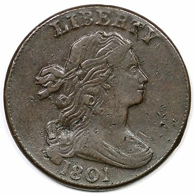 1801 S-219 R-2 Three Error Reverse Draped Bust Large Cent Coin 1c