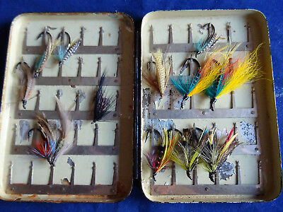 Early 60 Clip Hardy Pocket Fly Box + A Few Vintage Flies