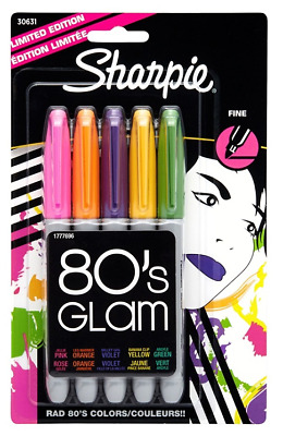 Sharpie Fine Point Markers 5 Pack 80s GLAM Limited Edition Color Markers 30631