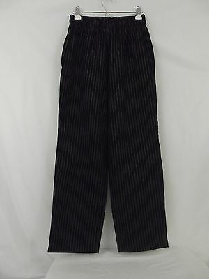 CHEF WORKS * Restaurant Cook Chef Pants Black with White Pinstripes Baggies * S
