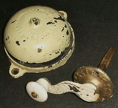 Taylor's 1860 Civil War Era Brass Doorbell Crank Handle Cast Iron Porcelain Knob