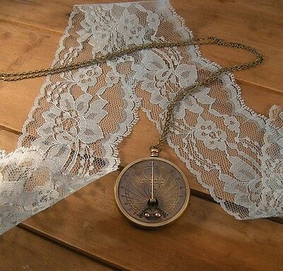 Sundial pocket watch pocketwatch necklace, antique brass, pendant charm & chain
