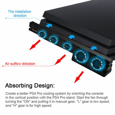 USB Cooling Fan 5 Cooler External Turbo Cooling Temperature Control for PS4 Pro