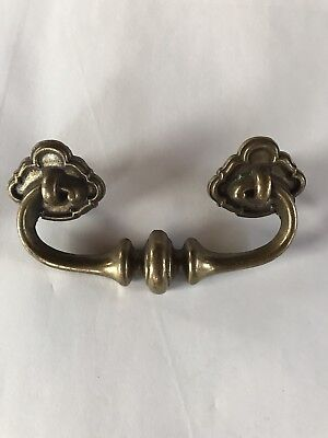 Vintage French Provincial Brass Dresser Drawer Cabinet Door Pulls Solid