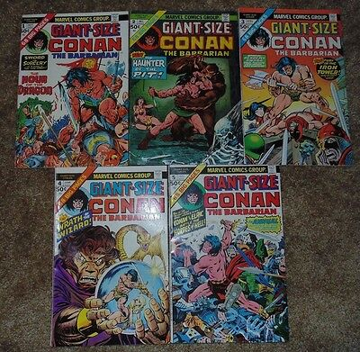 Marvel Giant Size Conan the Barbarian Comics Issues 1 through 5