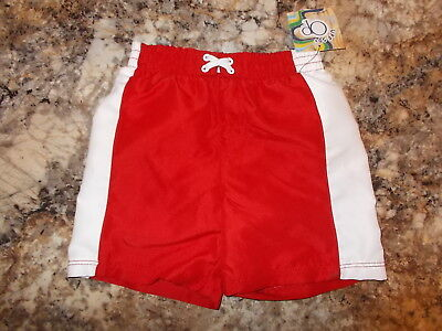 Boys Size 6-9, 12, OR 18 Months OP Brand Red & White Swim Trunks W/Inner Lining