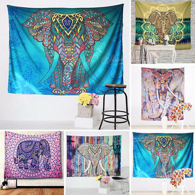 Indian Elephant Psychedelic Tapestry Wall Hanging Bedspread Cover Dorm Deco Art
