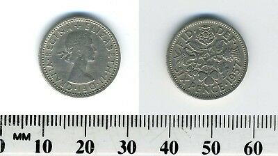 Great Britain 1957 - 6 Pence Copper-Nickel Coin - Q. Elizabeth II