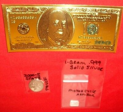 A 24K Gold Foil $100 Bill plus 1 gram silver bar Silver /& Bill Lot