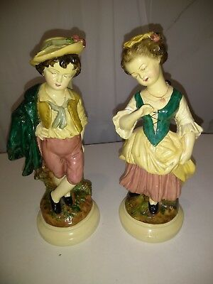 Lovely Pair of Vintage Chalkware Figurines with Original Borghese Label