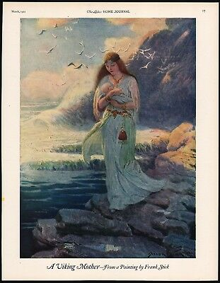 Vintage magazine ad A VIKING MOTHER 1921 from a painting by Frank Stick n-mint