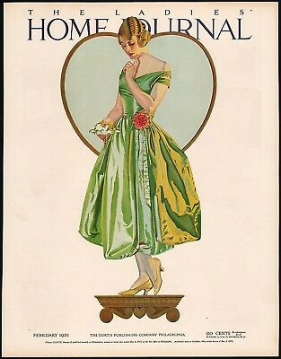 Vintage magazine ad LADIES HOME JOURNAL cover February 1921  Coles Phillips nrmt