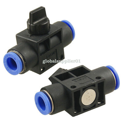 2 Pcs 10mm to 10mm One Touch Fitting Pneumatic Connector Hand Valve