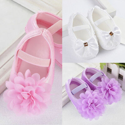 Newborn to 18M Infants Baby Girls Soft Crib Shoes Moccasin Prewalker Sole Shoes