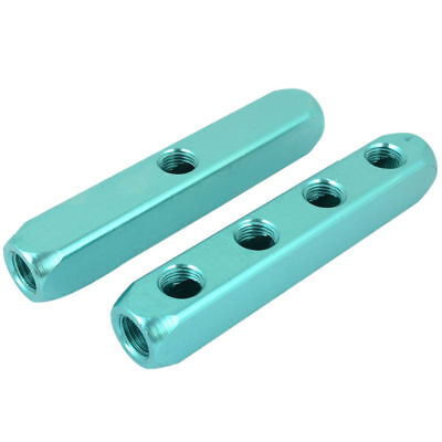 Teal Aluminum 4 Out 1 In Ports Cuboid Shape Air Inline Manifold Block