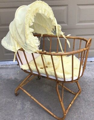 Antique Bentwood Rattan Wicker Baby Bassinet Cradle Albini Style Cover Rolling