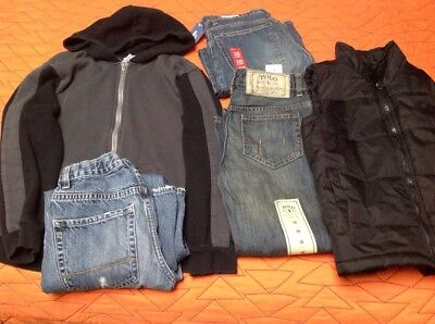 Boys Size 10 R Lot Straight Leg 2 Pairs Jeans NWT, Jacket, Vest Pre-Owned