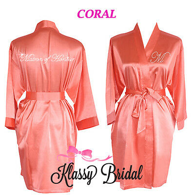 Bride Bridesmaid Dressing Gowns Satin Robes Personalised Bridal Wedding CORAL