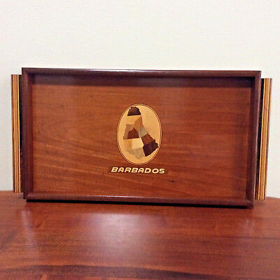 VINTAGE MARQUETRY INLAY WOODEN SERVING TRAY Island of Barbados Map Handcraft