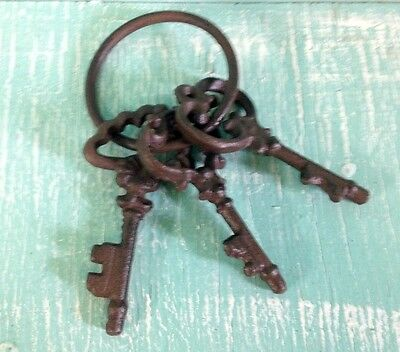 Chamber Skeleton Key Ring Cast Iron Wall Mount New Rustic Old Fashioned Vintage