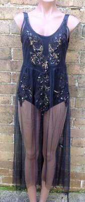 Black embroidered sequined see through mesh dress with black body suit size 12