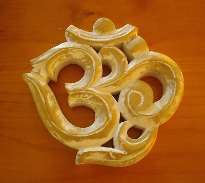 Hand Carved Wooden Om Symbol Standing Or Hanging Wall Plaque
