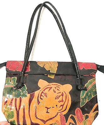 VINTAGE Indian PRESSED LEATHER dyed TIGER jungle shoulder bag HANDBAG