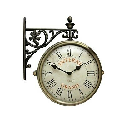 Antique Vintage Double Sided Wall Clock Home Decor Station Clock Gift - M195R