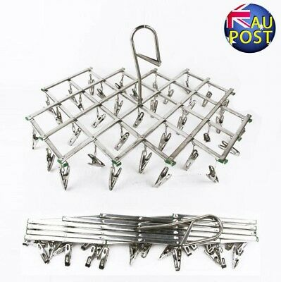 35 Pegs Stainless Steel Dryer Foldable Sock Clothes Airer Folding Hanger Rack