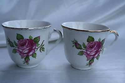 1946-1953 Midwinter England Porcelain Tea Cups Pair of Two