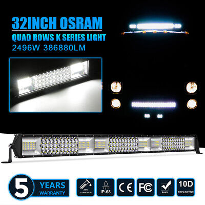 CREE Tri-row 52Inch 2871W LED Light Bar Combo Work OffRoad JEEP SUV 4WD Truck 50
